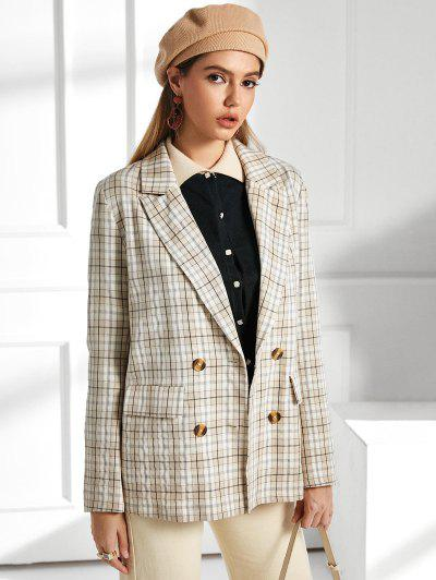 ZAFUL Flap Pockets Checked Blazer - Apricot S