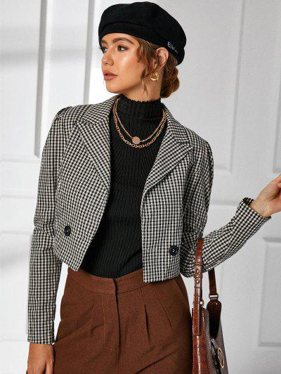 Gingham Puff Sleeve Notch Lapel Blazer - Black S