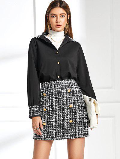 Office Plaid Tweed Sailor Two Piece Dress - Black M