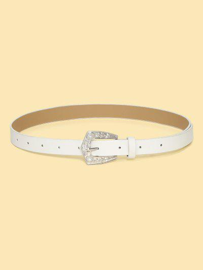 Retro Rhinestone Floral Buckle Belt - White