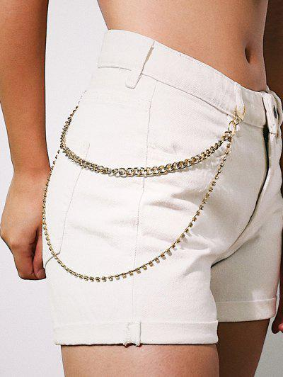 Rhinestone Layered Trousers Chain - Golden