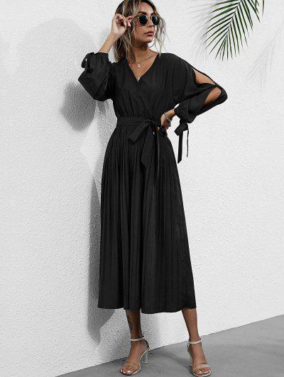 Tie Cuffs Split Sleeve Midaxi Pleated Surplice Dress - Black M