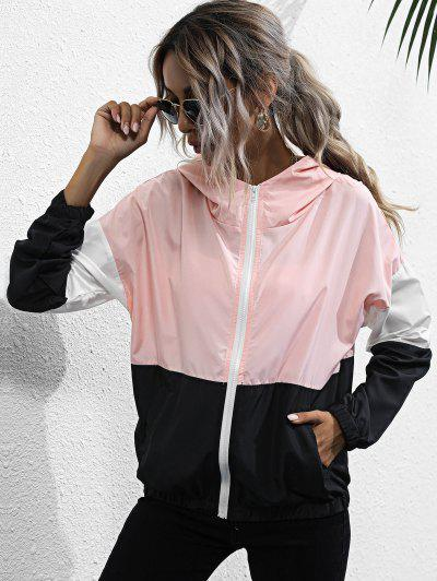 Hooded Color Blocking Windbreaker Jacket - Multi M