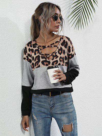 Leopard Panel Colorblock Top