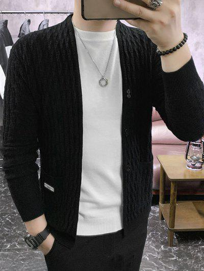 Braid Design Button Up Solid Color Cardigan - Black Xs