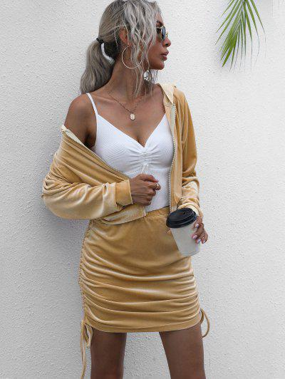 Hooded Velvet Side Cinched Ruched Two Piece Dress - Light Coffee M