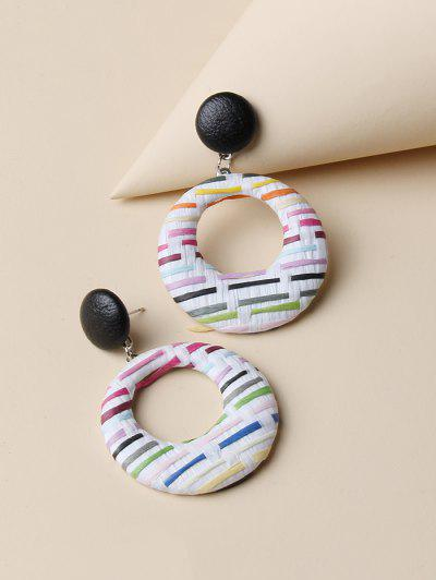 Circle Mixed Color Woven Earrings - Multi-a