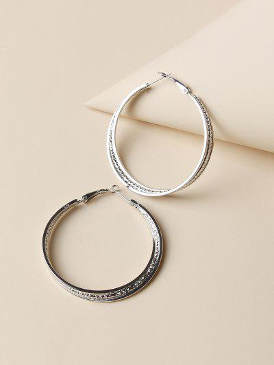 Engraved Layers Hoop Earrings - Silver