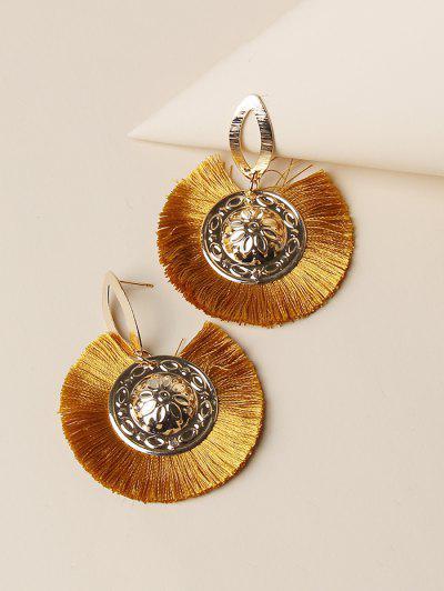Bohemian Carved Round Fringe Earrings - Golden
