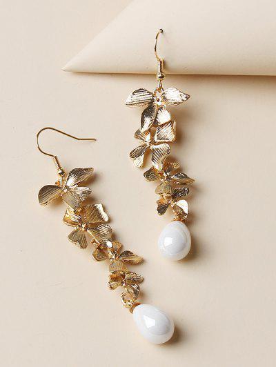 Carved Flower Shape Dangle Earrings - Golden