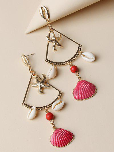 Starfish Cowrie Shell Dangle Earrings - Golden