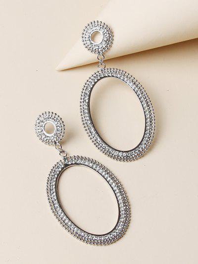 Hollow Oval Rhinestone Drop Earrings - Silver