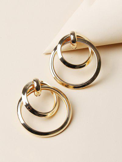 Hollow Double Circle Earrings - Golden