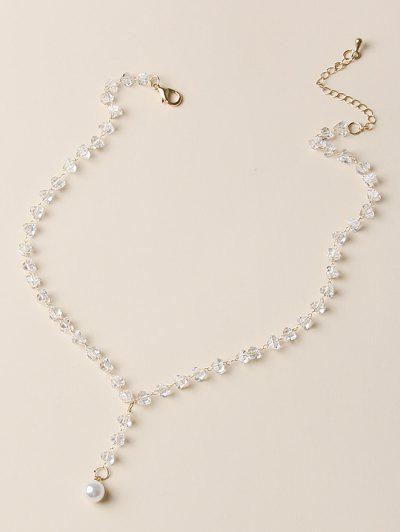 Collier Pendant En Cristal Avec Fausse Perle - Blanc