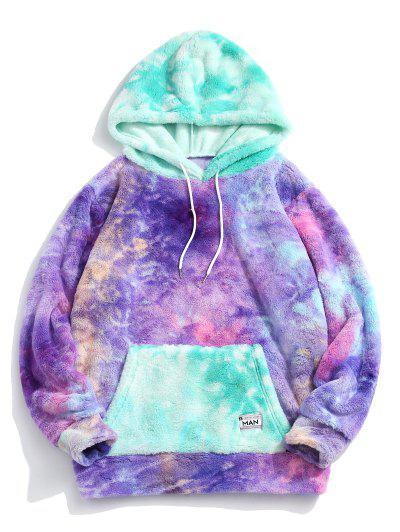 Tie Dye Kangaroo Pocket Fluffy Hoodie - Light Purple M