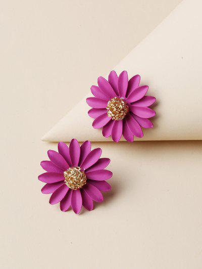 Daisy Flower Shape Stud Earrings - Golden