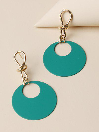 Knot Hollow Round Drop Earrings - Light Sea Green
