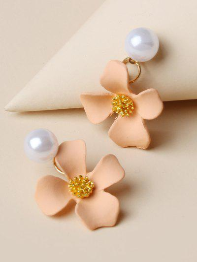 Flower Shape Faux Pearl Earrings - Deep Peach