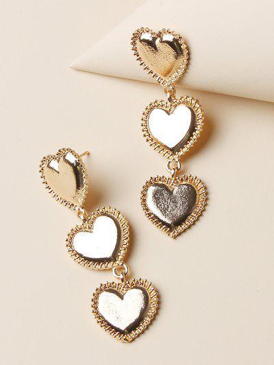 Carved Heart Shape Drop Earrings - Golden