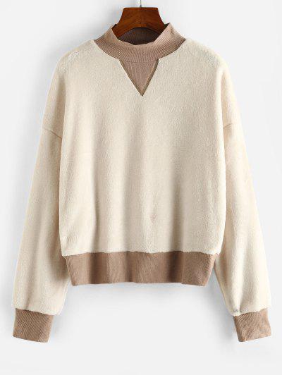 ZAFUL Mock Neck Ribbed Trim Fluffy Fleece Sweatshirt - White S
