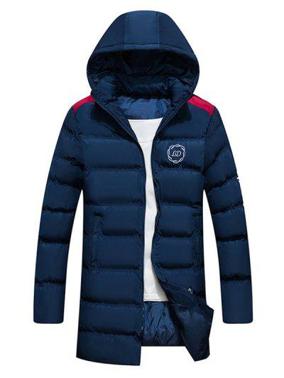Hooded Letter Print Graphic Embroidered Puffer Coat - Cadetblue S