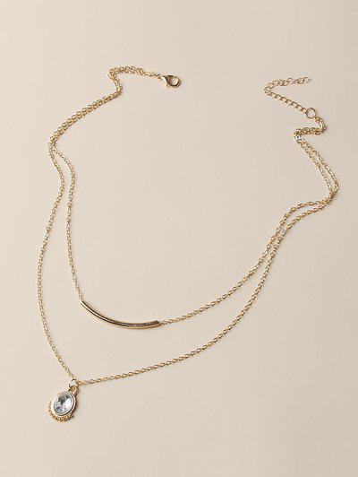 Oval Faux Crystal Layered Necklace - Golden