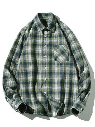 Striped Plaid Pattern Long Sleeves Casual Shirt - Green Xs