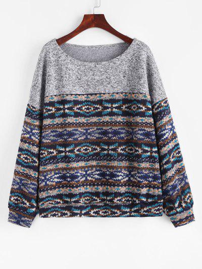 ZAFUL Loose Tribal Print Fleece Lined Sweatshirt - Deep Blue Xl