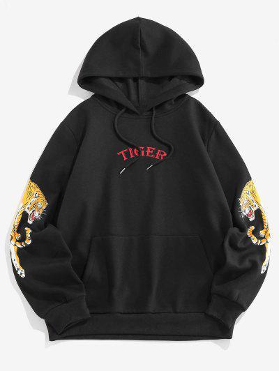 ZAFUL Letter Tiger Print Fleece Hoodie - Black 2xl