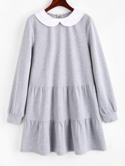 ZAFUL Contrast Peter Pan Collar Long Sleeve Dress - Light Gray S