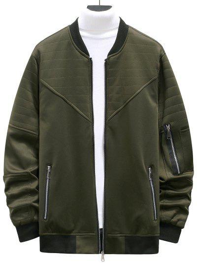 Zipper Pockets Stitching Detail Jacket - Army Green L