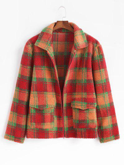 Plaid Pattern Double Pockets Wool Blend Jacket - Dark Orange L