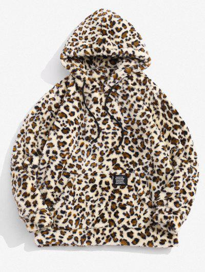 ZAFUL Leopardmuster Applique Flauschiges Hoodie - Blanchierte Mandel Xs