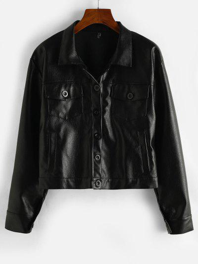 ZAFUL Button Up Pockets Faux Leather Shacket - Black M