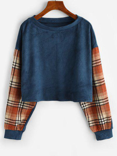ZAFUL Drop Shoulder Plaid Panel Faux Suede Sweatshirt - Blue S
