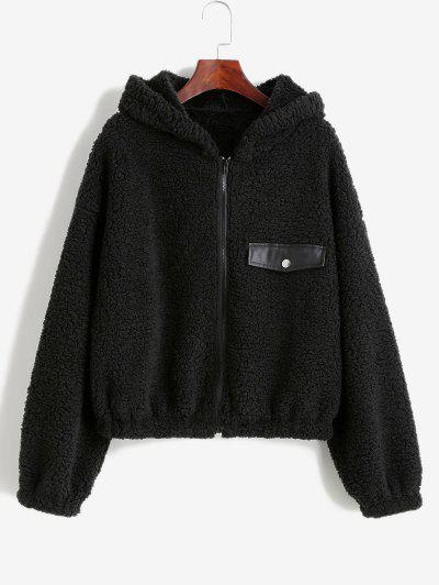 ZAFUL Faux Shearling Hooded PU Detail Zip Teddy Coat - Black S