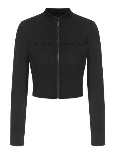 ZAFUL Flap Detail Zip Front Crop T Shirt - Black L