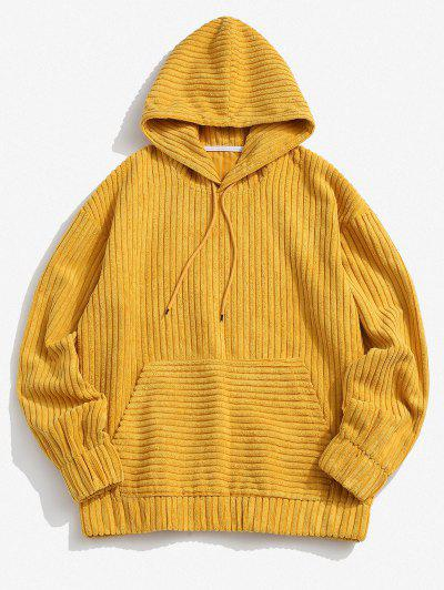 Corduroy Solid Front Pocket Hoodie - Yellow Xl
