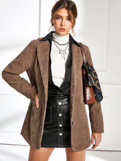 Button Up Pockets Belted Corduroy Blazer - Coffee M
