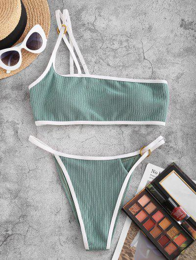 ZAFUL Ribbed O Ring One Shoulder Contrast Binding Bikini Swimwear - Light Green M