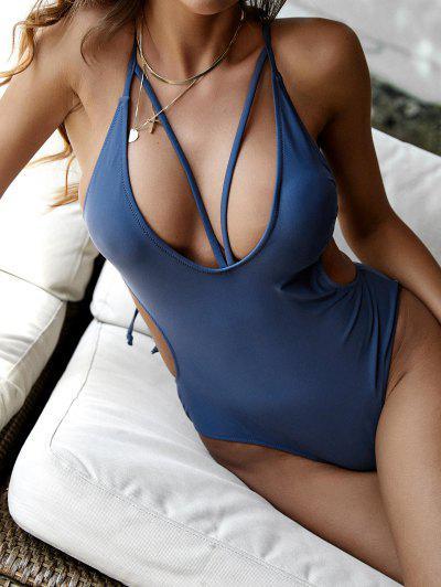 ZAFUL Cutout Crisscross Plunge One-piece Swimwear - Deep Blue M