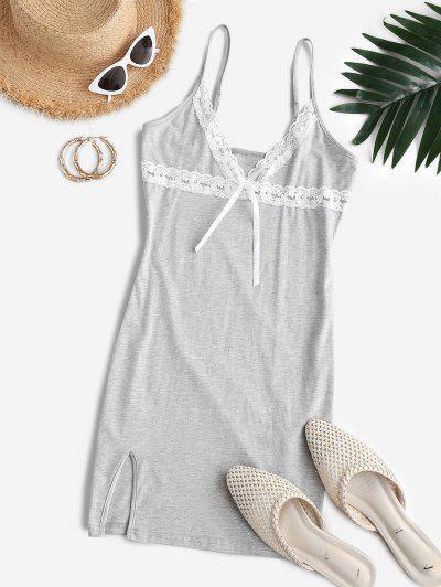 ZAFUL Plunge Lace Panel Mini Bodycon Dress - Gray Cloud M