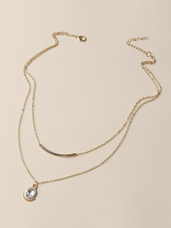 zaful Oval Faux Crystal Layered Necklace