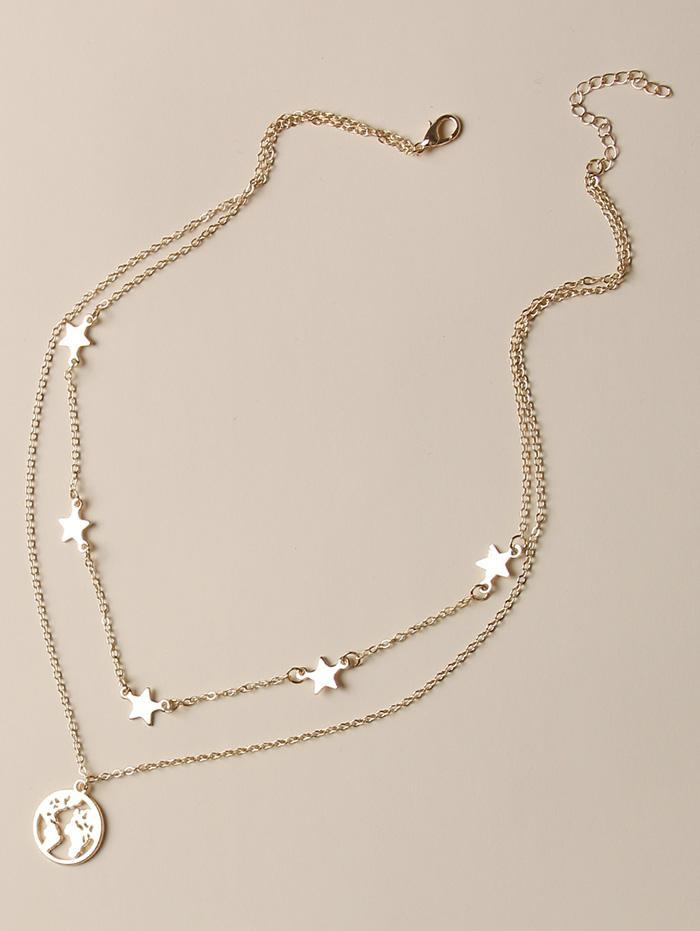 zaful Hollow Map Star Layers Necklace