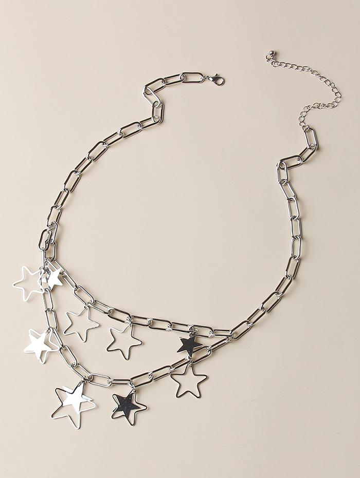 zaful Hollow Out Star Chain Layers Necklace