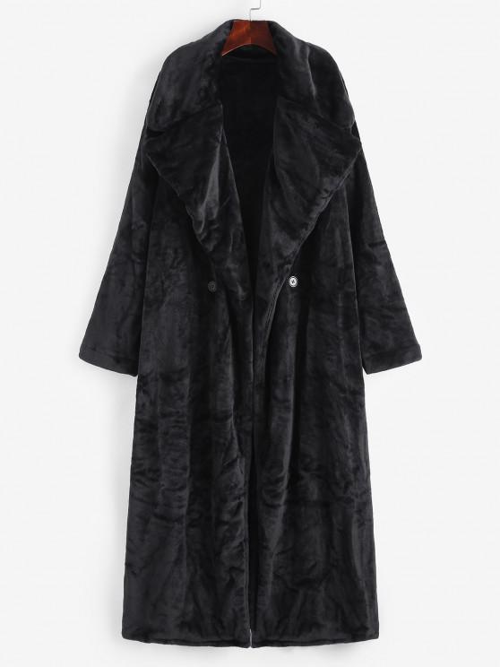 ladies Fluffy Faux Fur Drop Shoulder Longline Oversized Coat - BLACK ONE SIZE