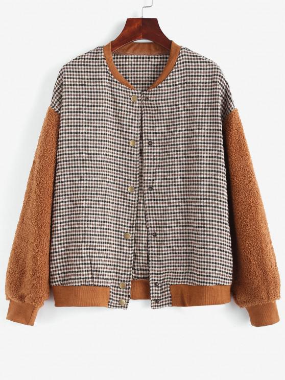 women Gingham Faux Shearling Teddy Baseball Jacket - COFFEE L