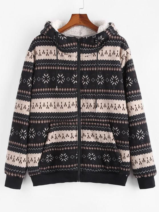 hot ZAFUL Christmas Snowflake Print Hooded Faux Shearling Jacket - BLACK M