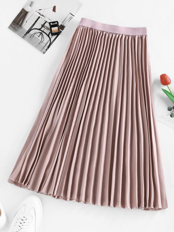 shops ZAFUL Pleated Elastic Waist Midi Skirt - LIGHT PINK L