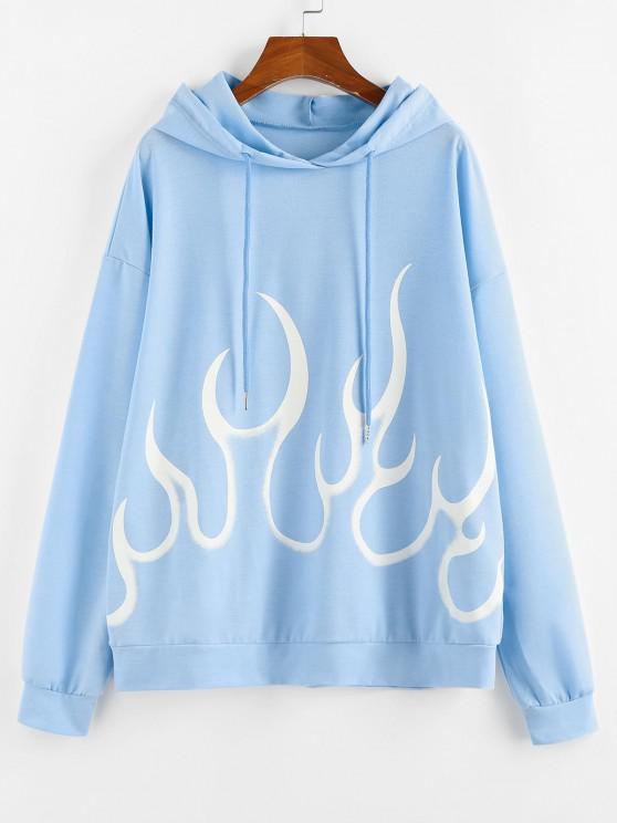 ZAFUL Flame Print Drop Shoulder Oversized Hoodie - أزرق فاتح M
